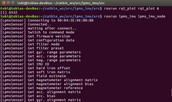 Screenshot starting LPMS ROS node